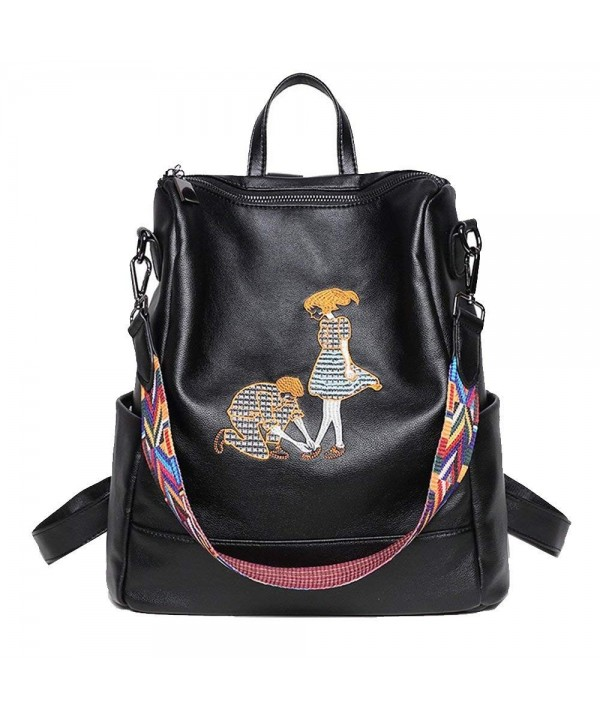 HLBag Backpack Rucksack Black Delicate Embroidery