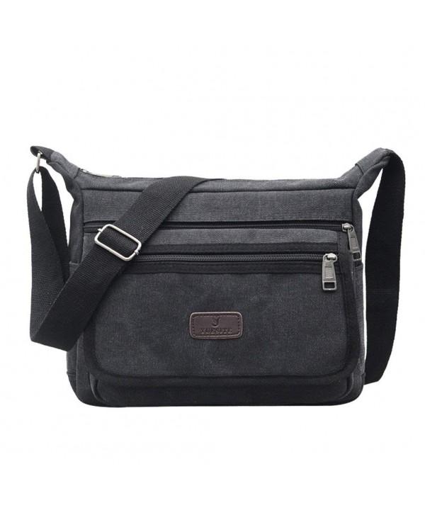 d0b95632613f Casual Canvas Shoulder Bags Flap Messenger Bag Cross Body Handbags Purses -  Black - CI18D36LW2N