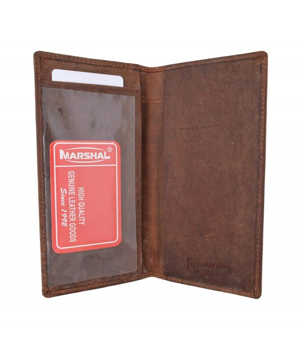 Blocking Vintage Genuine Leather Checkbook