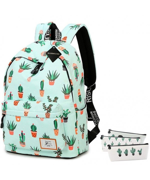 Bookbag Resistant Backpack College Blue Cactus