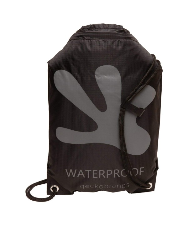 geckobrands Waterproof Drawstring Backpack Black