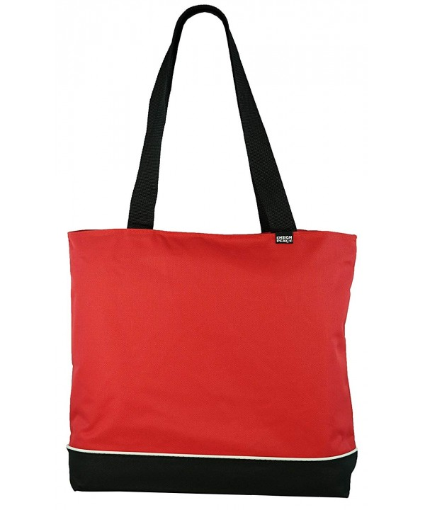 Shoulder Tote Bag Zipper Red