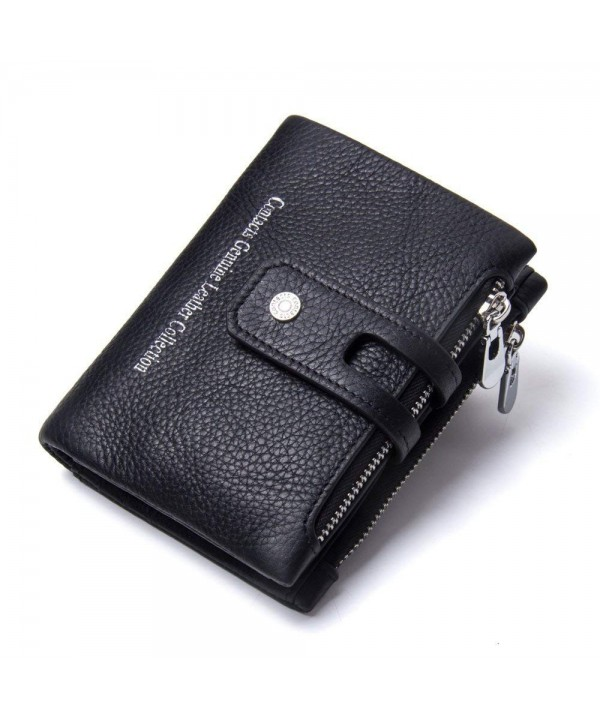 52ba525294ba RFID Blocking Zipper Wallet for Men with Coin Pocket Bifold Vintage Genuine  Leather - Black - CC186M4WMXK