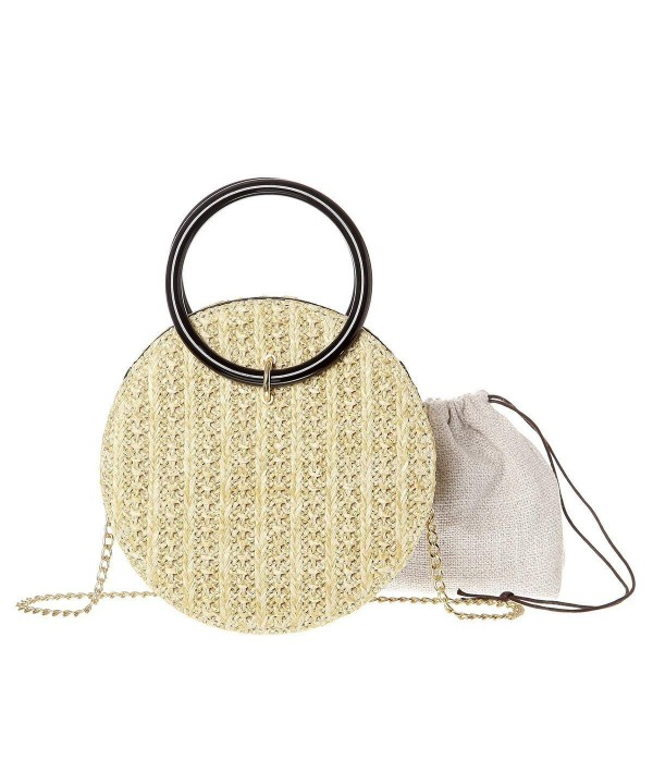 Women Handwoven Round Straw Shoulder