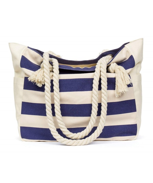 Malirona SB028B green Malirona Beach Canvas Travel Tote Bag Blue Stripes