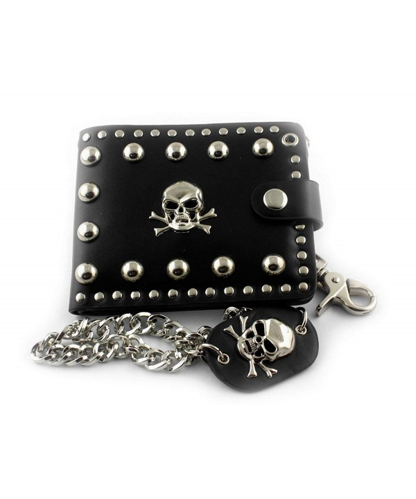 skull Biker studded Leather Wallet