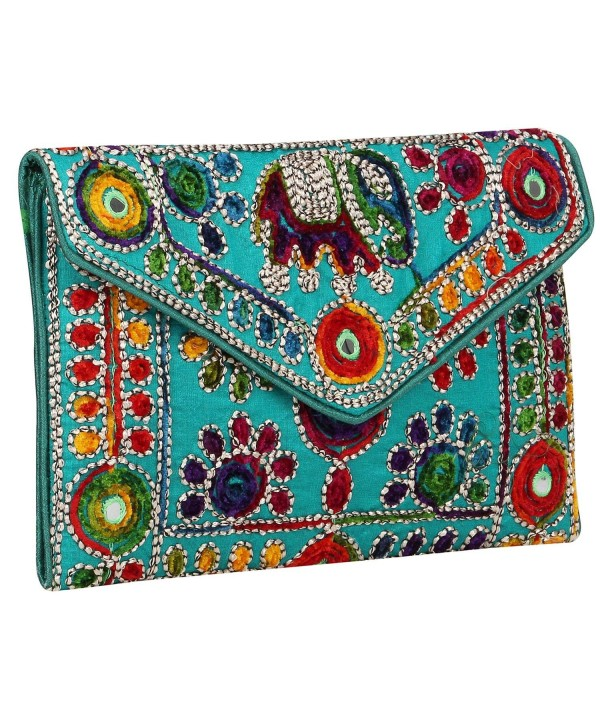 Rajasthani Jaipuri Foldover Purse Quality Checked Green