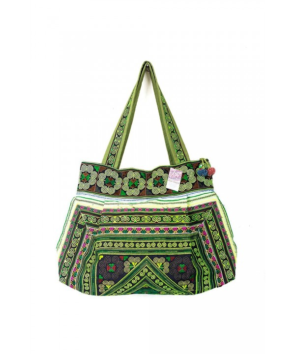 Green Diamond Tribe Embroidered Handbag