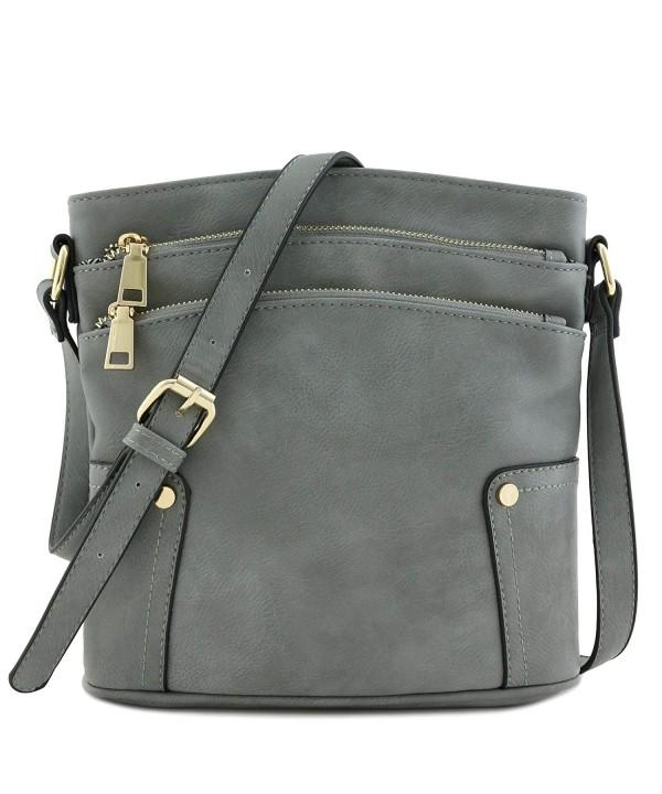 Triple Pocket Medium Crossbody Grey