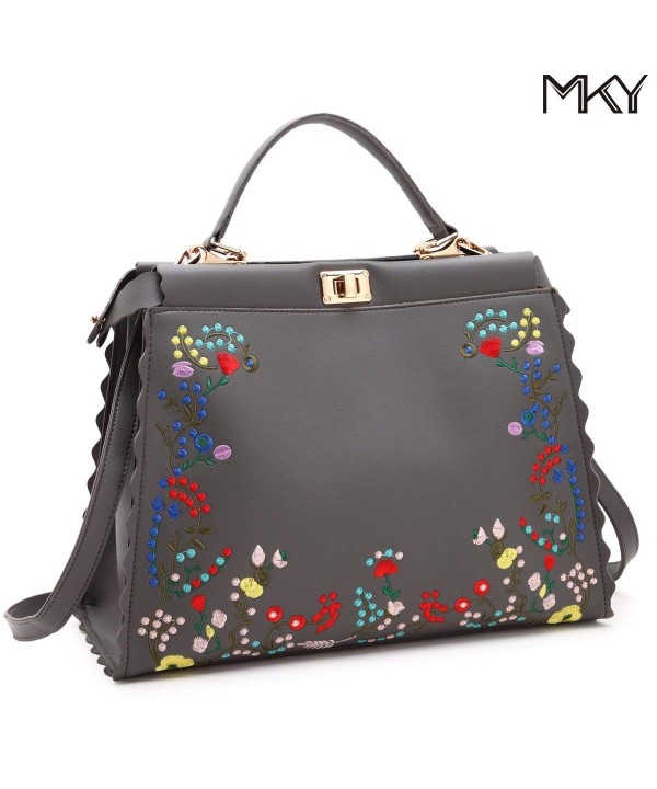Floral Satchel Handbag Leather Shoulder