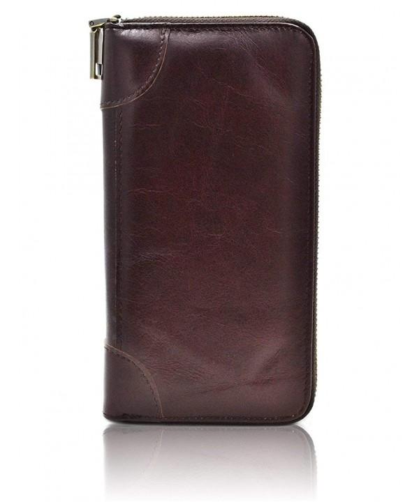 Genuine Leather Blocking Vintage Checkbook